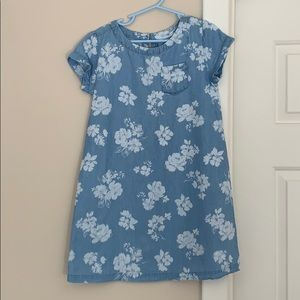 Girls floral chambray shift dress